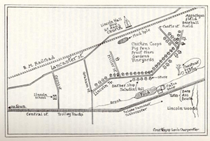 Lincoln Terrace map, drawn by Louis Charpentier in the late 1920s or early 1930s.