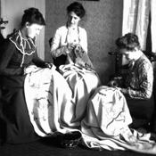 The emphasis in the Deerfield Society of Blue and White Needlework was on hand production in a home as opposed to mass production in a factory setting.  Courtesy of Pocumtuck Valley Memorial Association.