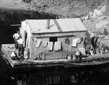 Floating cook shacks accompanied log drives on the Connecticut River. Courtesy of Pocumtuck Valley Memorial Association.