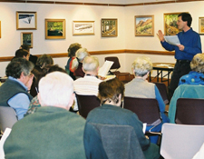 Keith Lewinstein, leading a discussion at the Acton Public Library on February 5, 2003.