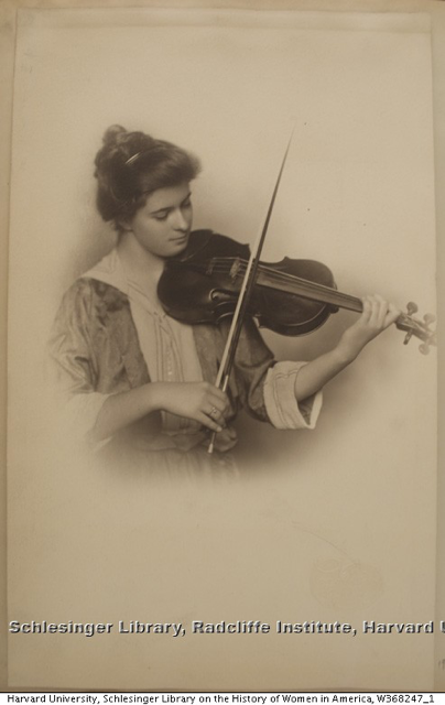 Formal portrait of unidentified female violin student ca. 1910-1920