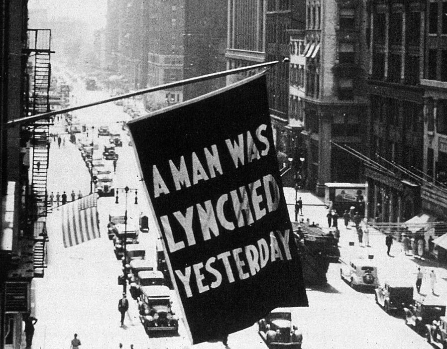 This anti-lynching banner flew outside NAACP headquarters in midtown Manhattan during the early 1900s.