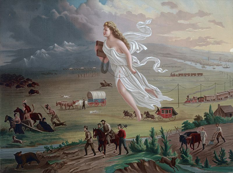 John Gast's American Progress, an allegory of Manifest Destiny that was widely disseminated in chromolithographic prints in the late 1800s.