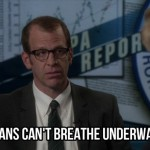 Still from The Newsroom: Humans can't breathe underwater
