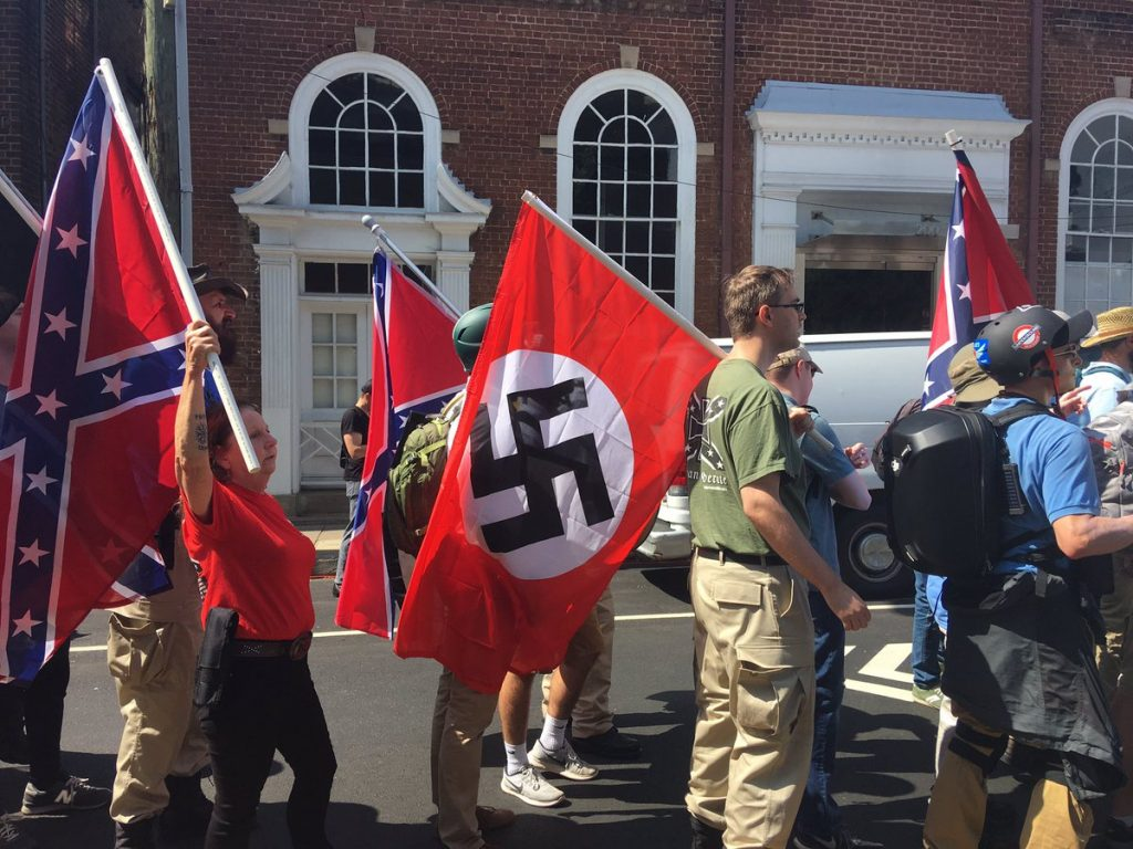 White supremacists flew Nazi flags alongside Confederate flags at the march where Heather Heyer was murdered.