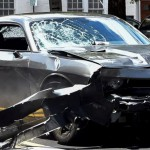 The silver Dodge Charger that killed Heather Hayer, allegedly driven by James Alex Fields Jr. in Charlottesville