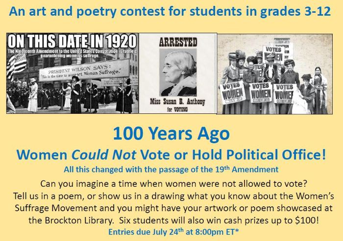 Art and poetry Suffrage Centennial contest for students in grades 3-12